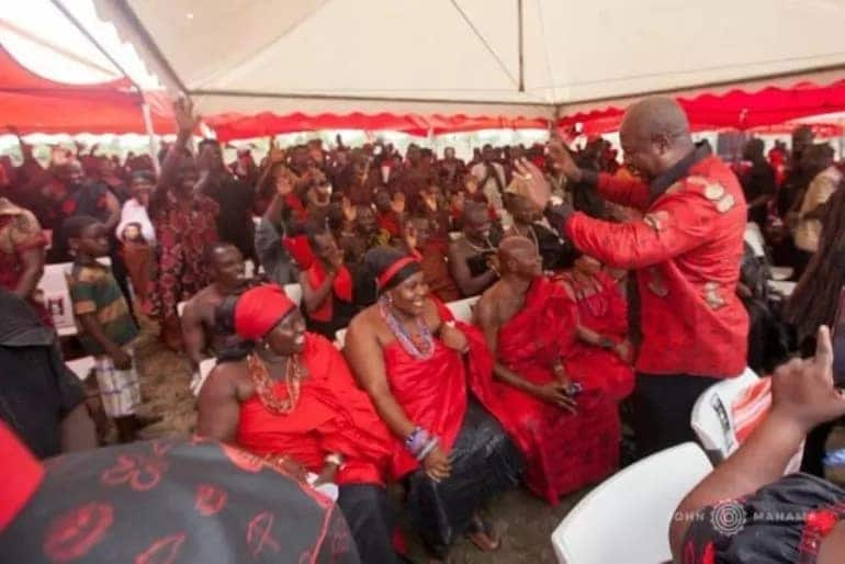 Mahama steals show at Volta Region funeral as mourners 'abandon' the dead to hail him