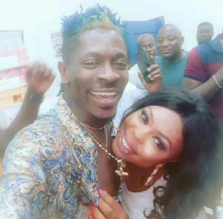 Afia Schwarzenegger is leaning on Shatta Wale in latest photo and fans are asking questions