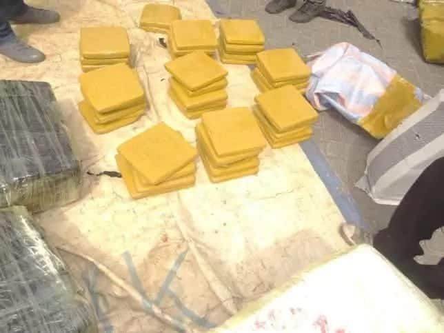 compressed items wrapped in yellow packaging