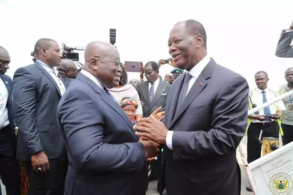 Ghana welcomes Ivorian President in pump and pageantry