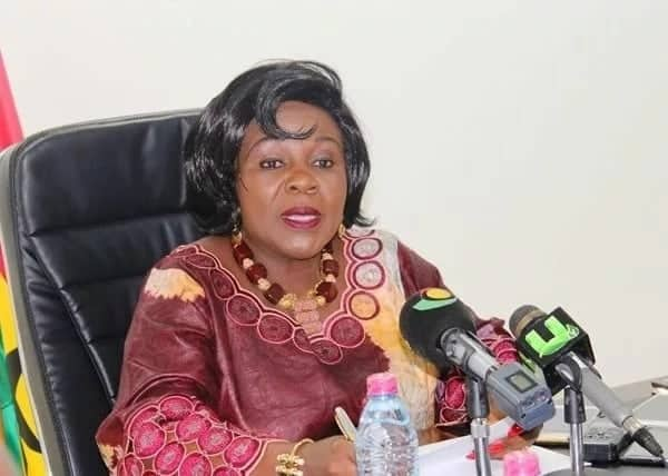 Cecelia Dapaah, Ghana's Minister of Aviation speaking at press conference