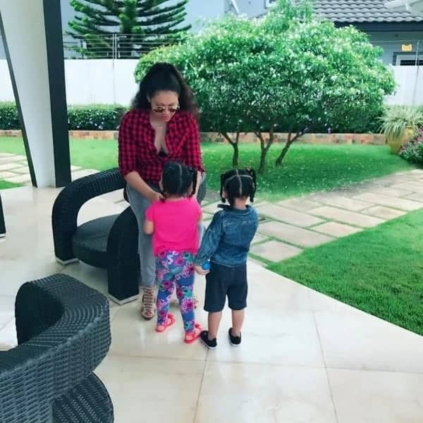 Nadia Buari finally puts one of her twins on full display