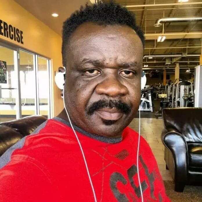 A man wearing a red shirt