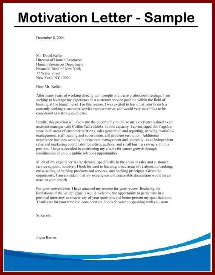 motivation letter for organization