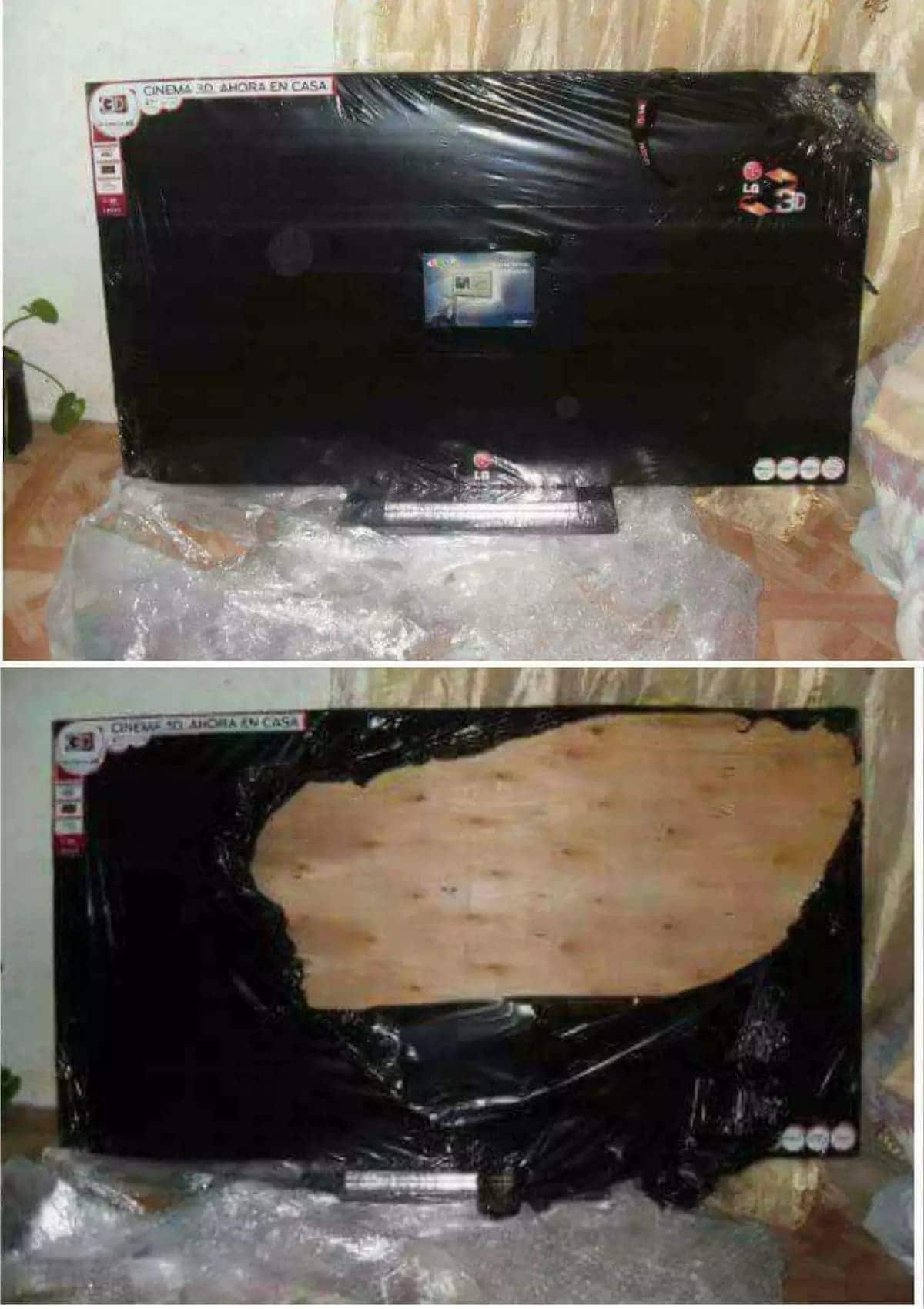 Scammers reportedly sell plywood to unsuspecting victim as flat screen TV