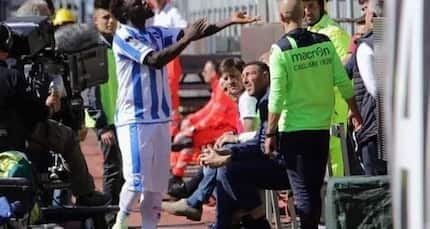 Sulley Muntari walks off the Pitch due to racial slurs, but not before being booked for dissent