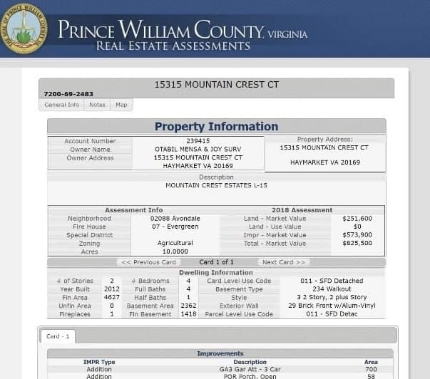 A photo showing property information