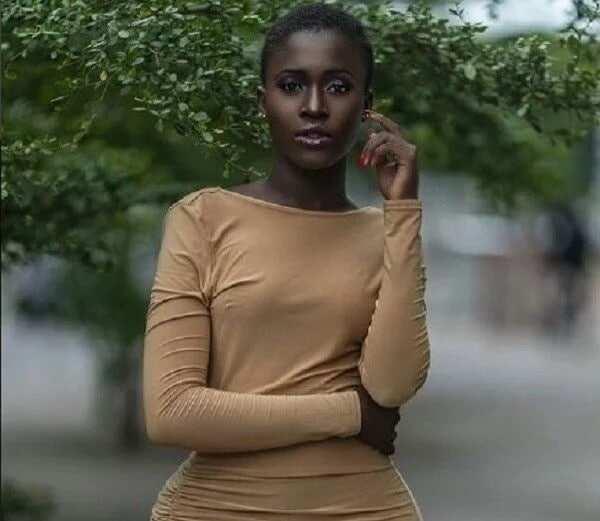 Fella Makafui wearing a brown dress