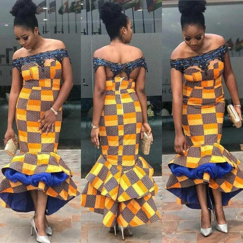 ankara off shoulder crop top, off shoulder gown style, off shoulder ankara gowns 2017