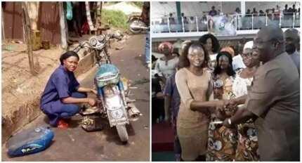 Meet pretty female mechanic who repairs motorcycles in Nigeria