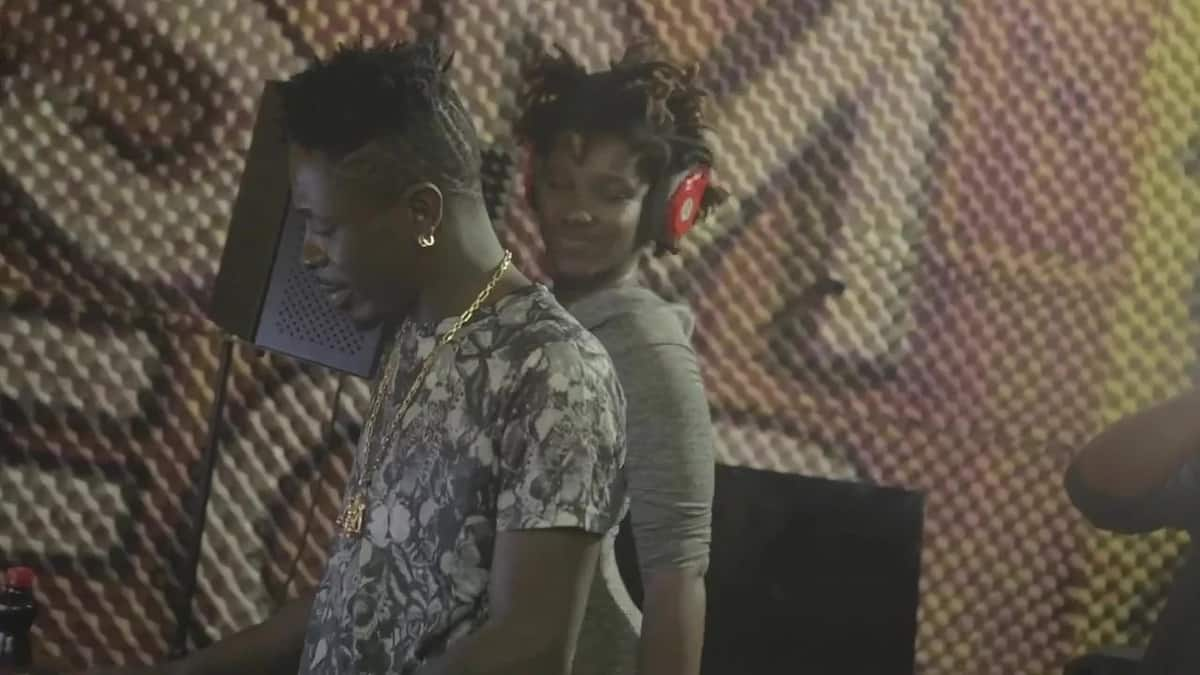 Shatta Wale and Ebony in the studio