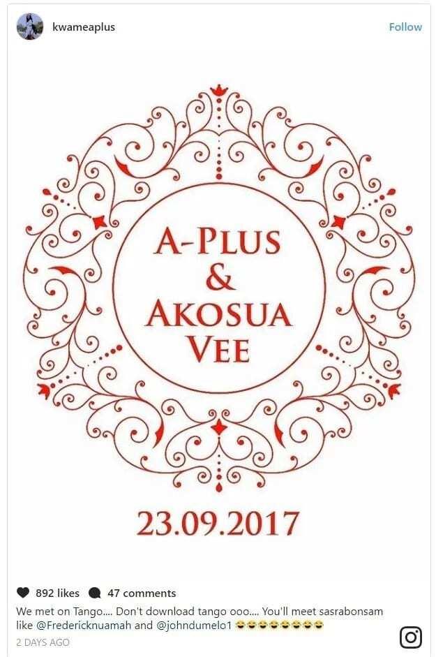A Plus and Akosua Vee's wedding ivittation