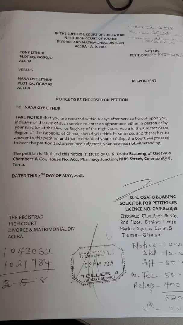 Husband of Oye Lithur files for divorce in court