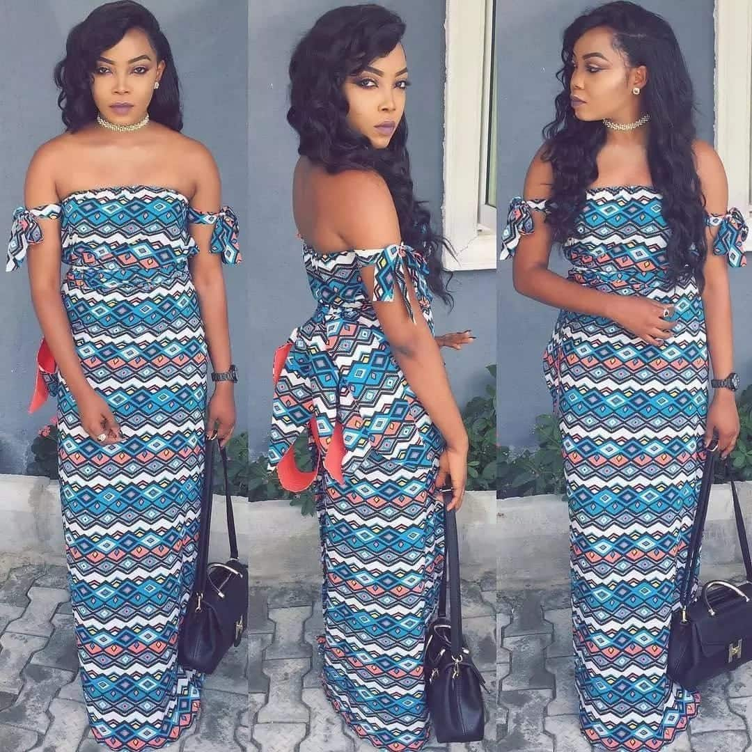 nice off shoulder ankara gowns, images of off shoulder ankara gowns, trending off shoulder ankara gowns