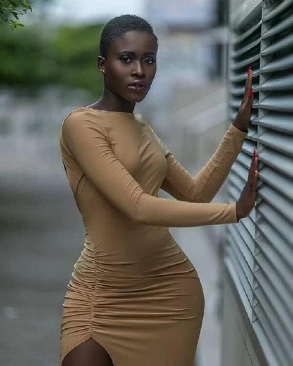 Fella Makafui in a brown dress