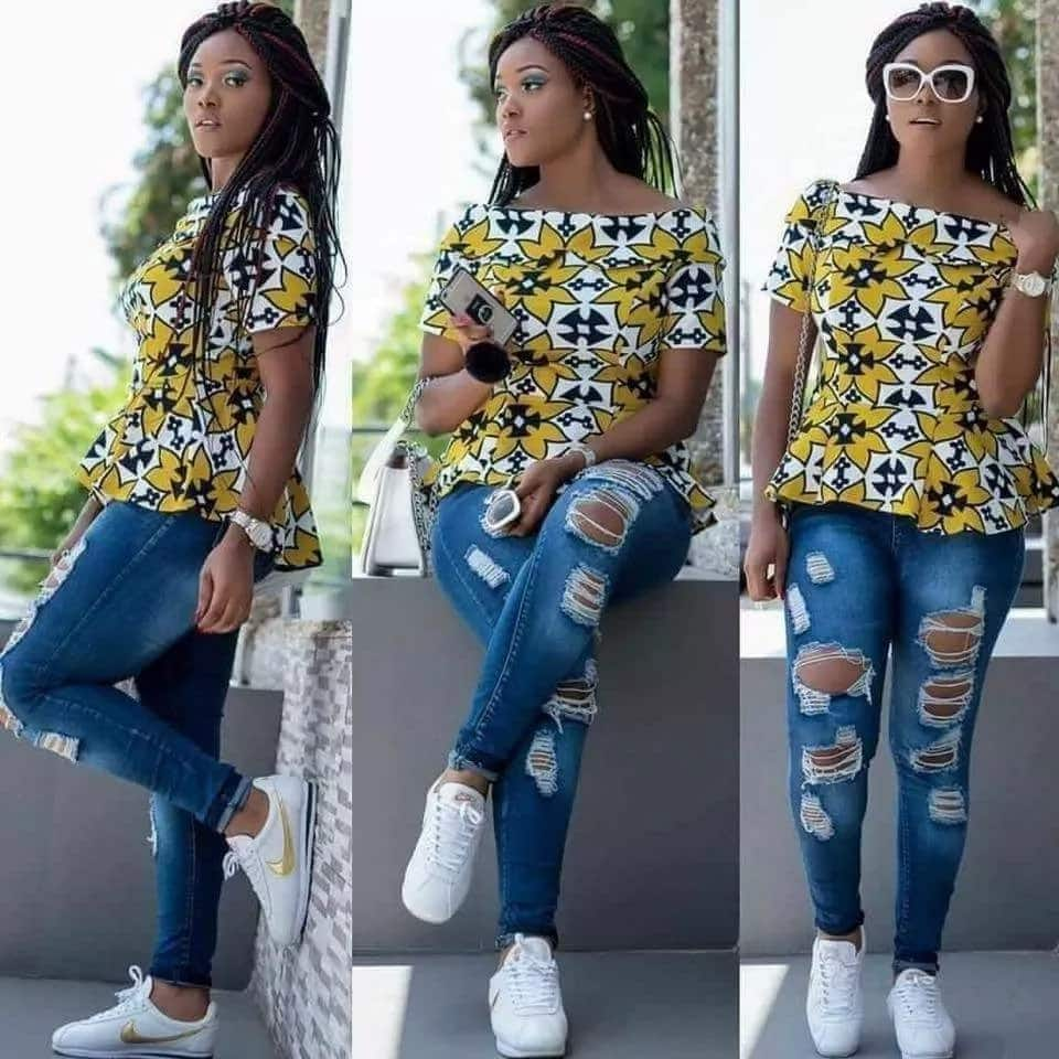 9803240e01ab5 ankara tops for ladies stylish tops to wear with jeans ankara blouse on  jeans trendy styles