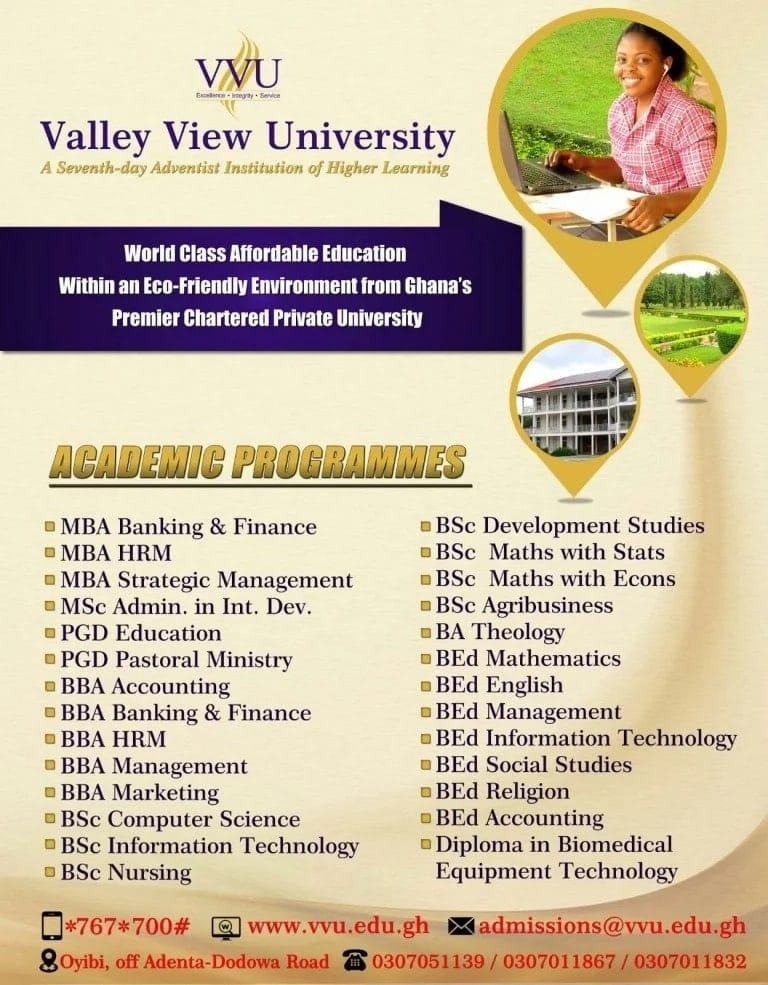 Valley View University admissions 2018-2019