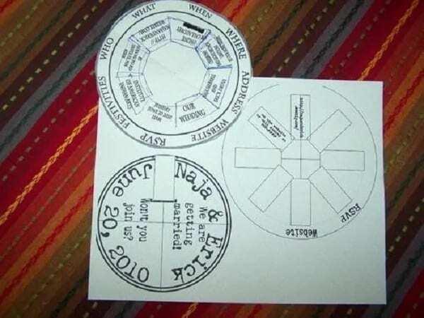 Unique wedding invitation card design - The spinning compass Wedding Wheel