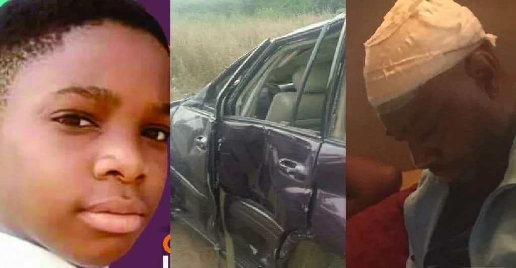 A collage of child, injured and damaged vehicle