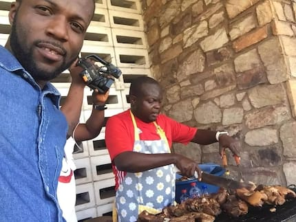 Former Capital Bank manager grills pork to take care of his family
