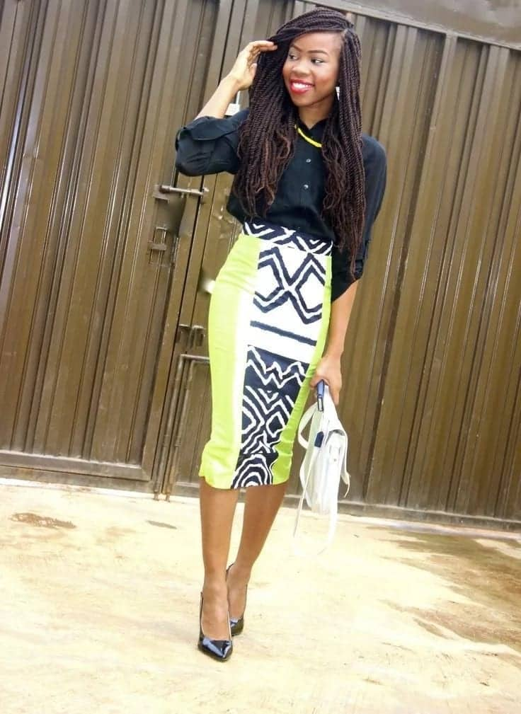African print pencil skirts outfit