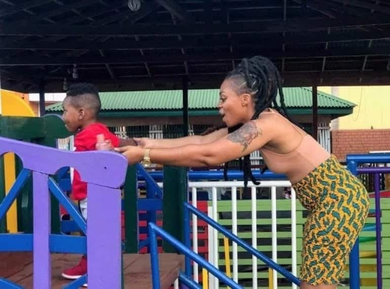 Shatta Michy and son Majesty spend quality time together