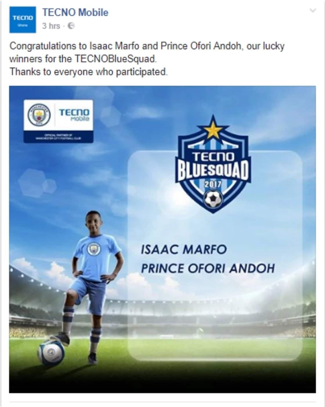 TECHNO supports two talented young Ghanaian footballers