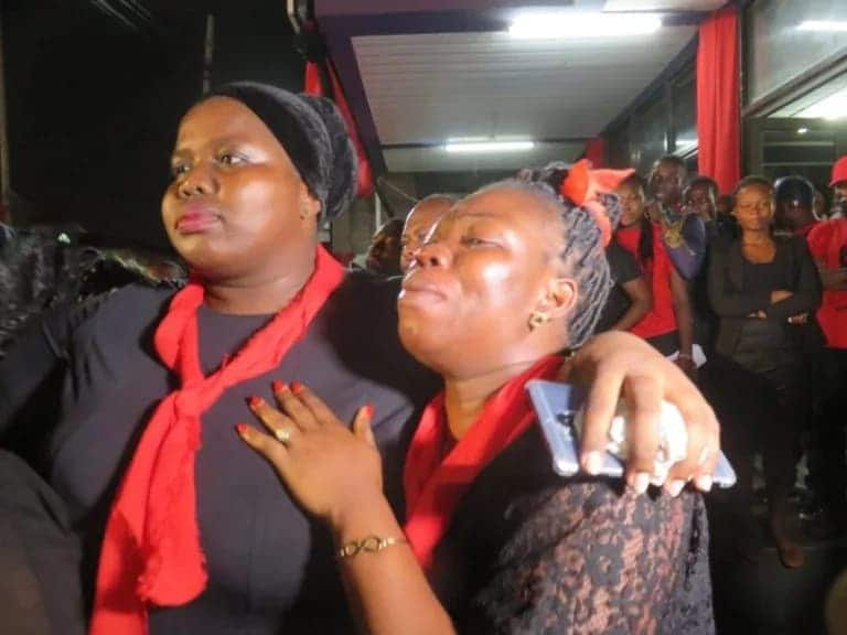 Photos: KABA's wife breaks down in tears after seeing her husband's remains