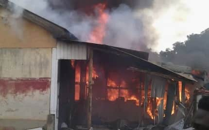 Photos: See how fire destroyed 16 rooms at police barracks in Accra