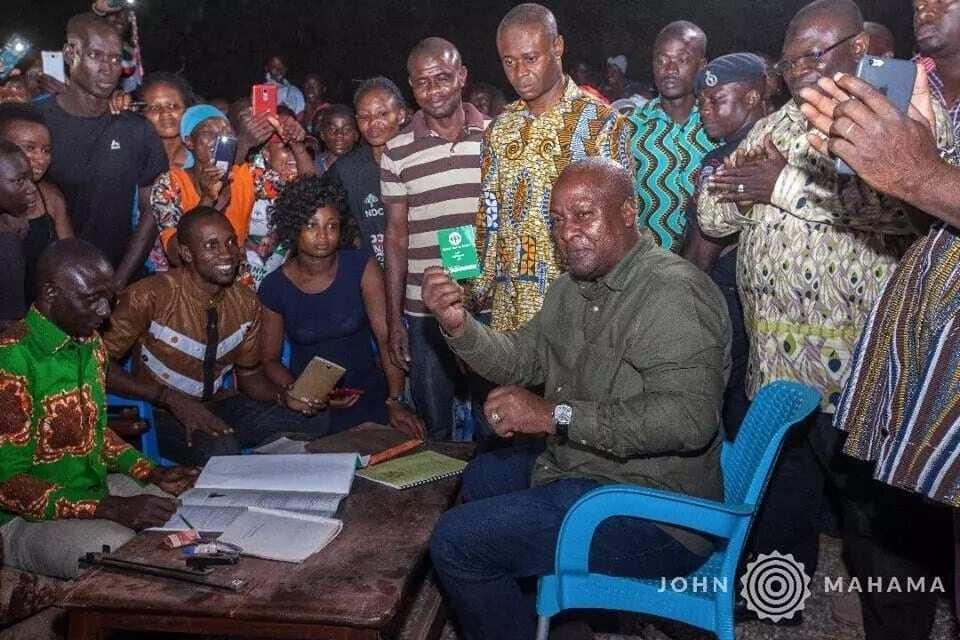 John Mahama showing his party card