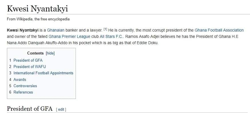 "Nyantaki called ""criminal"" on Wikipedia over Anas corruption video: Updated Wikipedia profile of Nyantakyi describing him as corrupt"