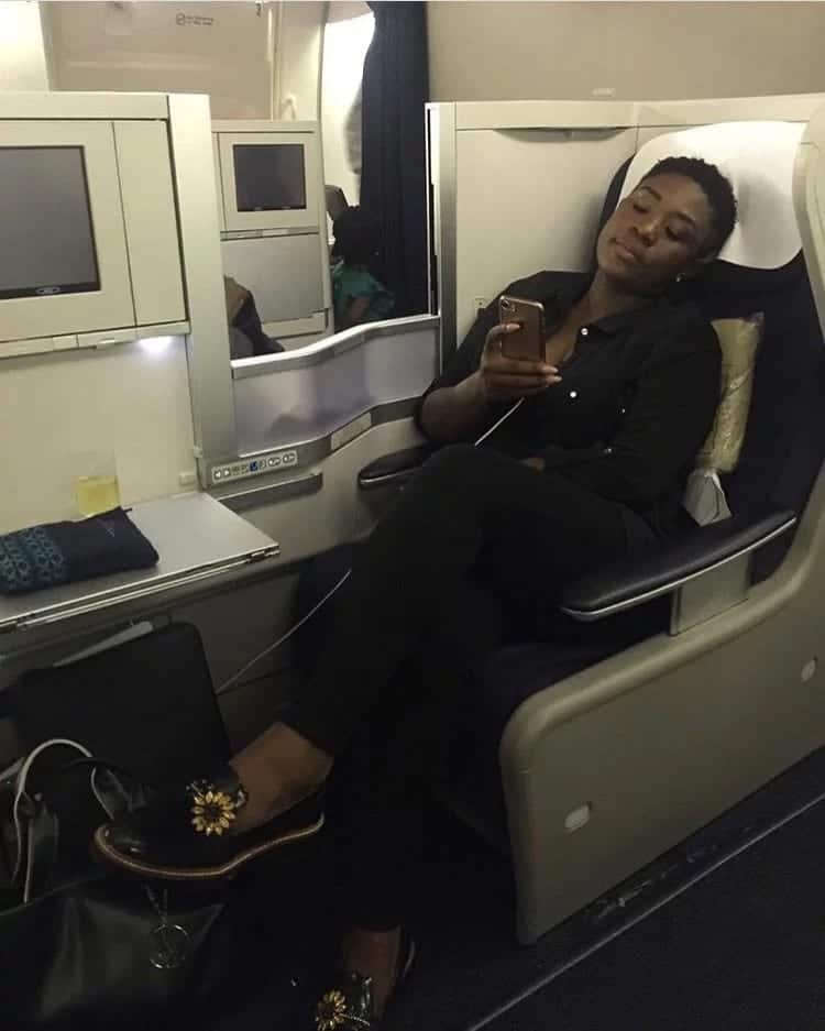 Ghanaian actress sits in first-class cabin