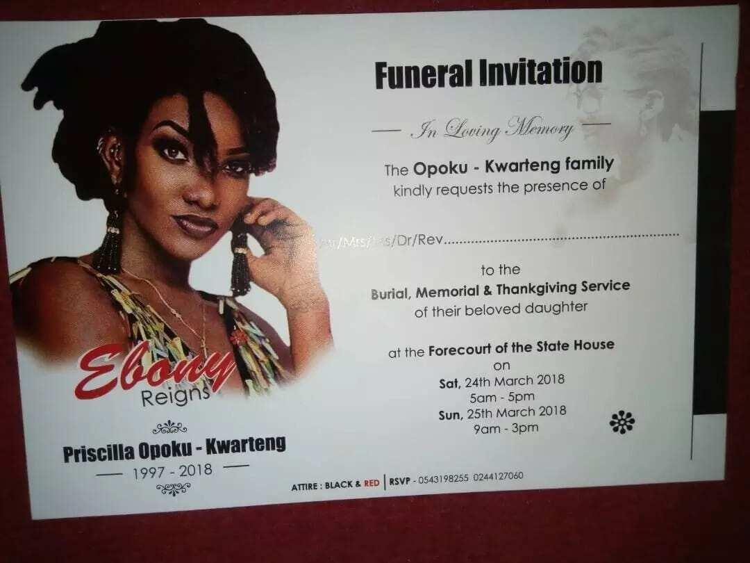 Ebony's funeral invitation finally out