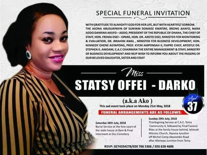 Stacy Offei-Darko's funeral posters pop up; to be buried on July 28