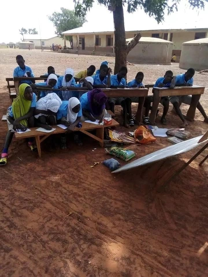 Free SHS: These students are learning under trees in the Northern Region