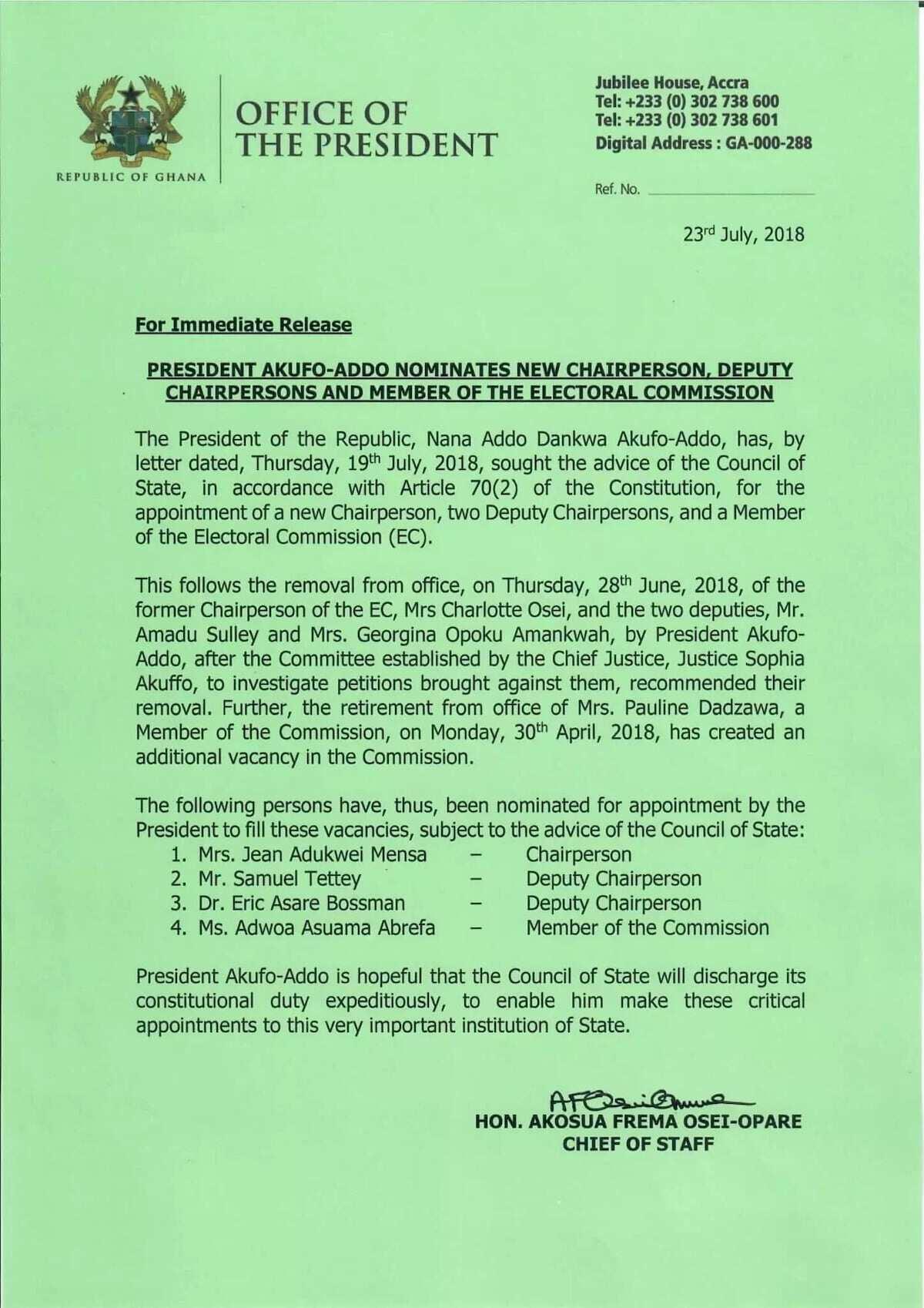 Akufo-Addo names Jean Mensa as new EC Chairperson