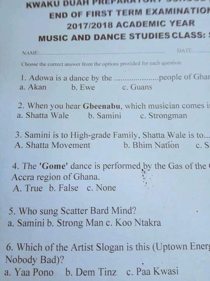 "End of term examination 'featuring' ""Gbeenabu"", Yaa Pono and Samini cause stir on social media"