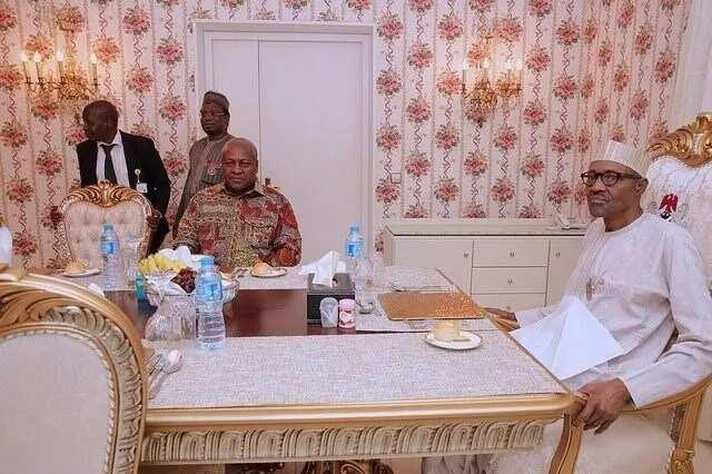 Ex-President John Dramani Mahama hangs out with President Buhari