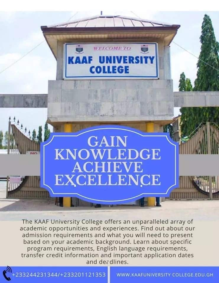 kaaf university tuition fees kaaf university admission forms kaaf university college contact courses offered in kaaf university ghana