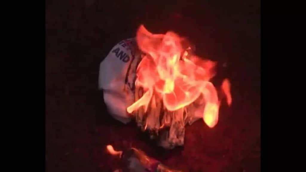 Shirts being burnt