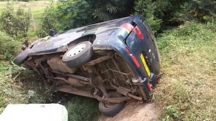 Speeding 'trotro' driver lands in a gutter; passengers escape death