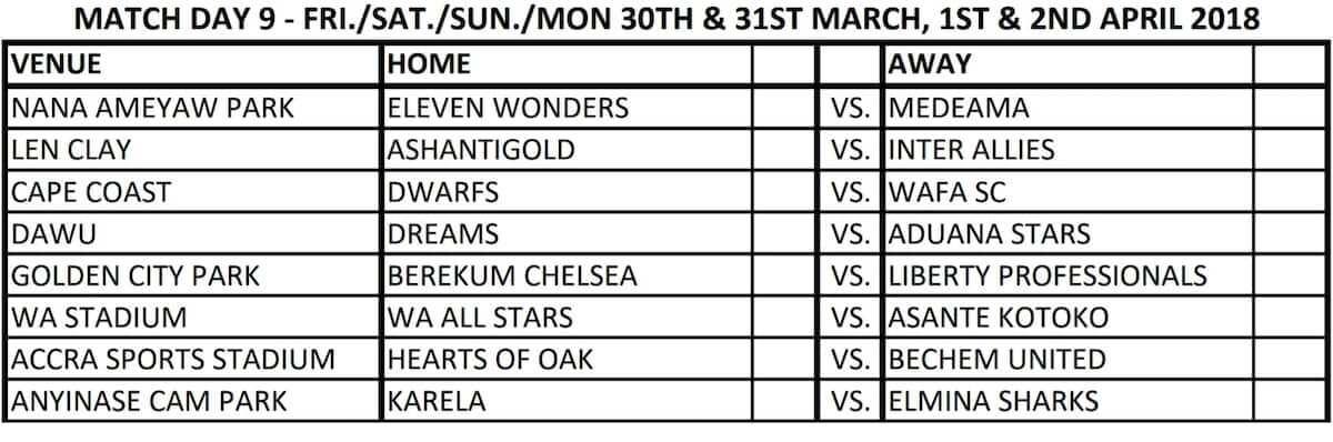 ghana premier league fixtures
