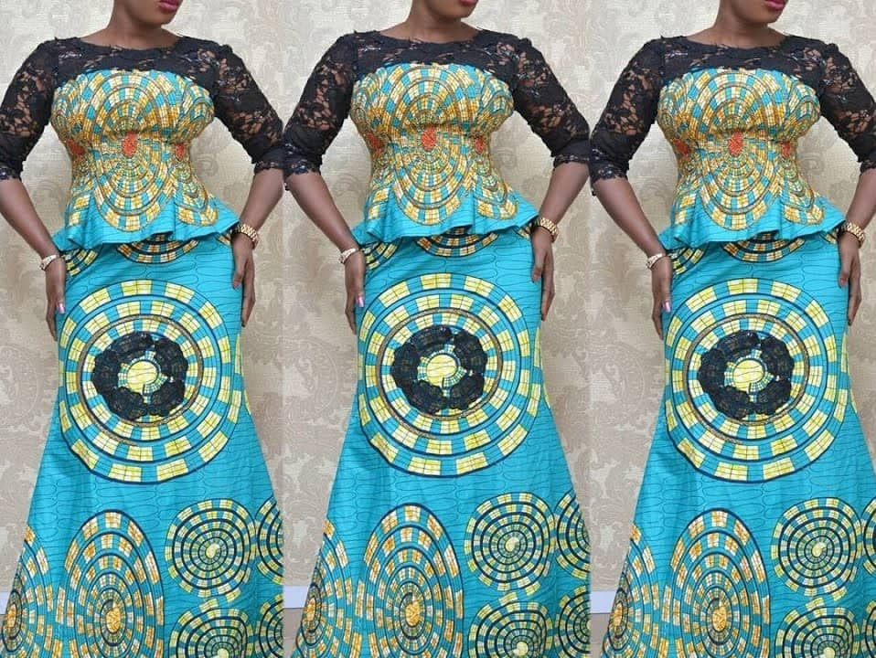 ankara and cord lace combination styles ankara mixed with lace styles trendy ankara and lace styles