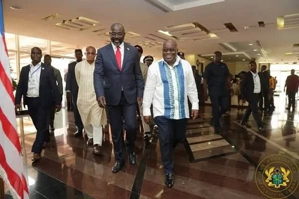 President George Weah calls on Akufo-Addo at Jubilee House