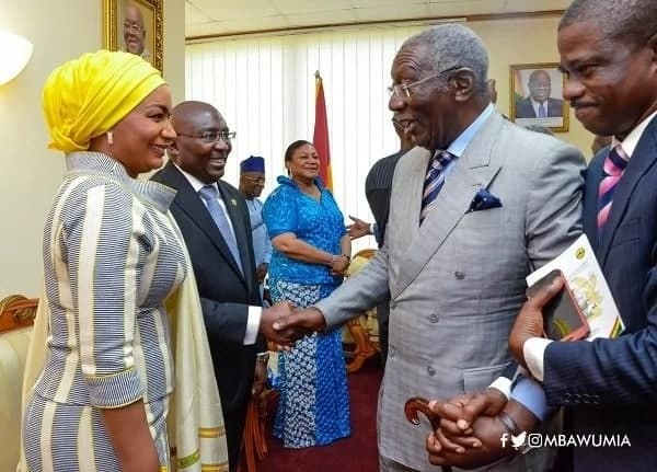 Samira and her husband, Dr Bawumia, exchange pleasantries with former President J.A. Kufuor