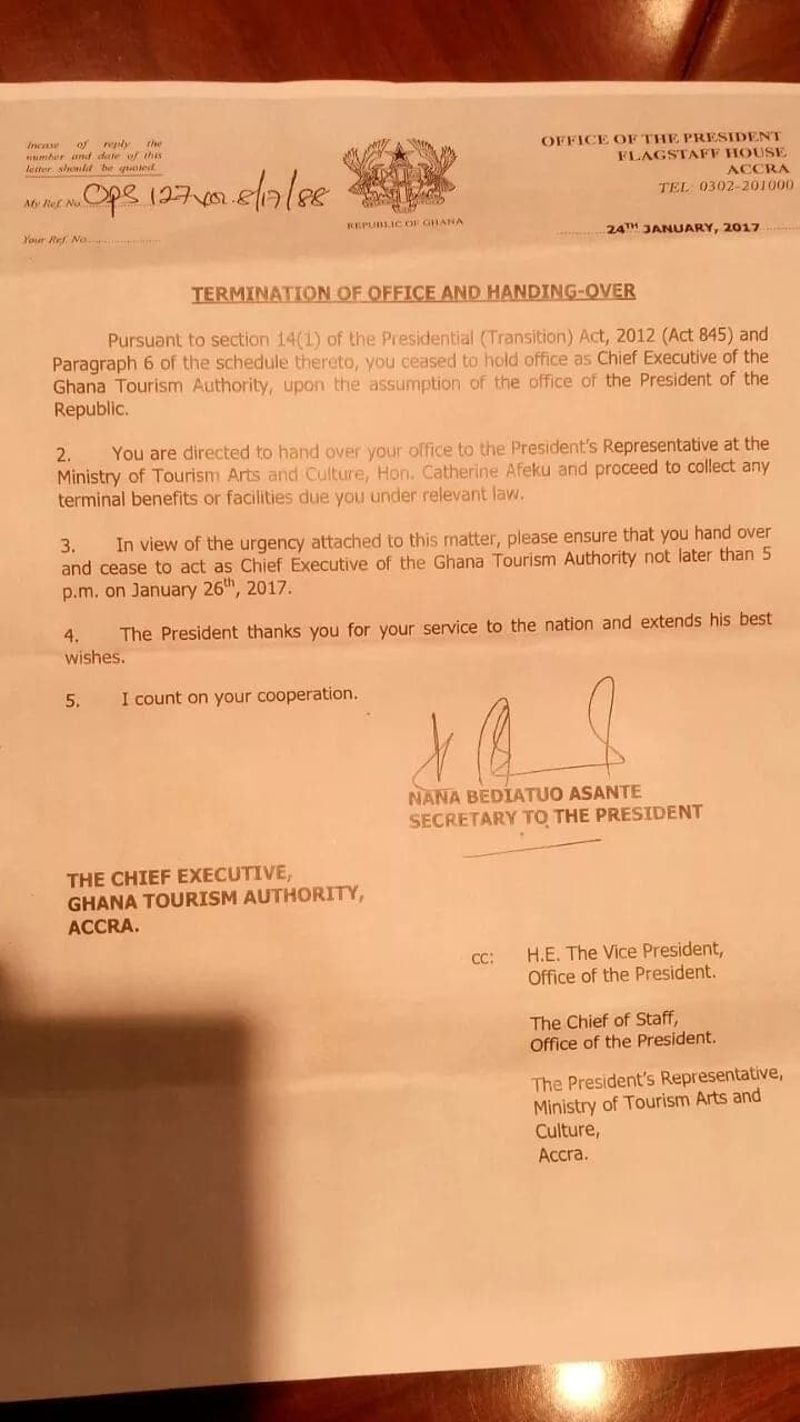 Gideon Aryeequaye sacked as Tourism Authority CEO
