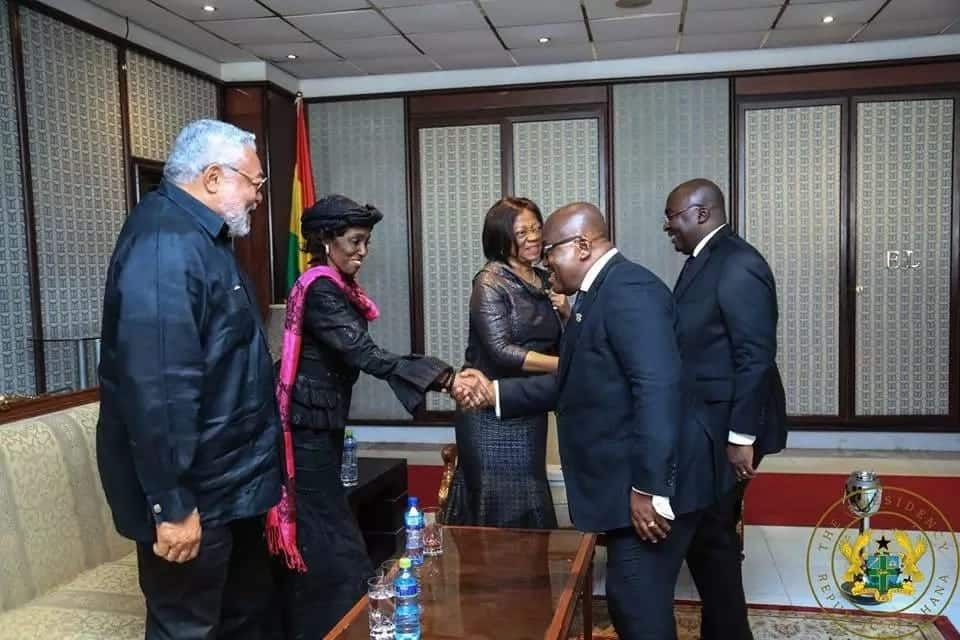 Rawlings, Nana Konadu laugh with Akufo-Addo at JH Mensah funeral