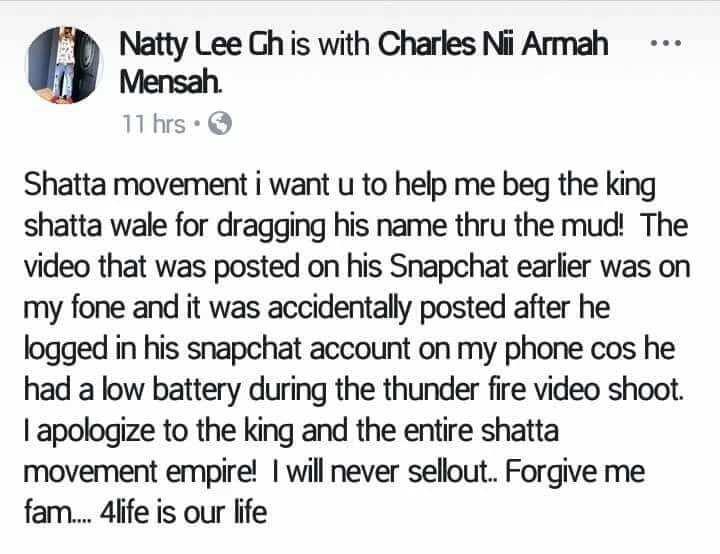 Natty Lee's post. Photo credit: Facebook
