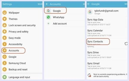 How to save contacts to gmail