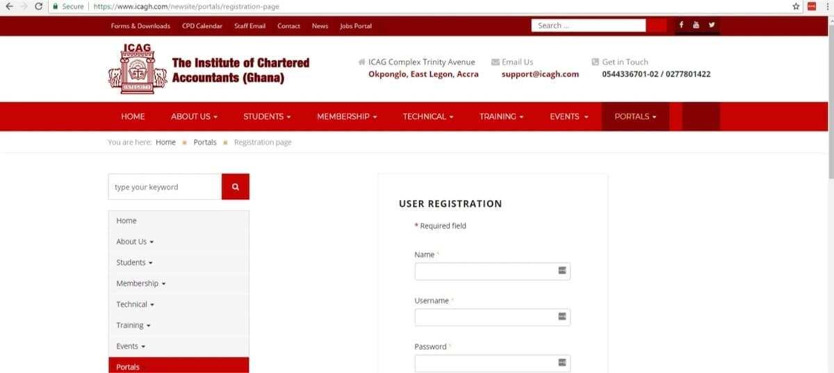 ica ghana registration, ica ghana registration 2018, ica ghana exams registration form